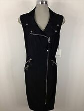 Calvin Klein Beautiful Denim Dress Silver Side Zippers and Gold Ornaments size 4