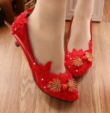 New Arrival Womens Red Wedding Bridal Shoes Lace Flowers Rhinestones Heels Size