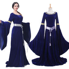 Women Renaissance Medieval Dress Blue Retro Court Gown Halloween Costume US Ship