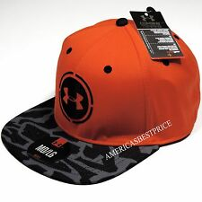 UNDER ARMOUR NEW MENS UA COMBINE TRAINING STRETCH CAP/HAT NWT ORANGE/CAMO BLACK
