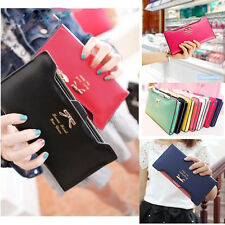 NEW Bow Women Lady Leather Clutch Wallet Long PU Card Holder Purse Handbag