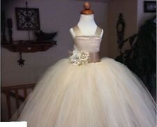 Flower Girl Princess Dress Kid Birthday Party Bridesmaid Formal Tutu Pageant US
