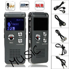 8GB Digital MP3 Player Audio Voice Recorder Rechargeable Dictaphone Telephone
