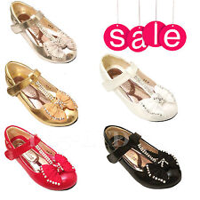 GIRLS KIDS TOUCH FASTENER WEDDING BRIDESMAID DIAMANTE PARTY SANDALS SHOES SIZE