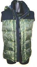 Tommy Hilfiger Chambray Camo Button zip Front Down vest w Hood $189 SZ Small