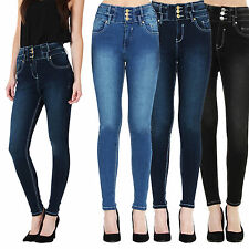 Women Ladies Black / Blue High Waisted Skinny Jeans Size 6 8 10 12 14 16 18