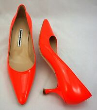 Manolo Blahnik Red Neon Patent Leather Pumps Kitten Heel Pointed Toe