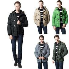 MENS FAUX FUR HOODED PADDED WINTER PARKA  JACKET DUCK DOWN COAT  TOPS NEW G4X2