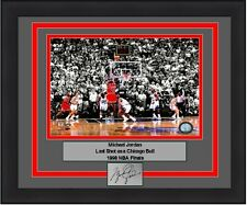 Chicago Bulls Michael Jordan Last Shot 1998 NBA Finals Engraved Signature Photo