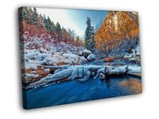 Winter River Snow Ice Cliffs Forest Beautiful FRAMED CANVAS WALL PRINT