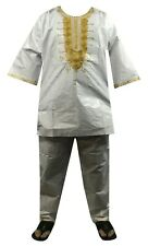 Mens 3Pcs Brocade Dashiki Pant Suit Set African Clothing Boho White Free Size