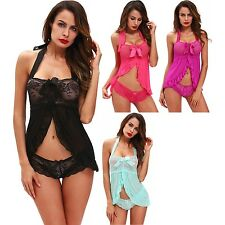 Sexy Nightwear Halter Lace Strap Babydoll Lingerie Dress Exotic Apparel Brief