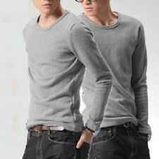 Mens Long Sleeves O-neck Casual T-Shirt Solid Basic Tee M~5XL Two Colors Winter