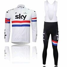 NEW Thermal Fleece Long Sleeve Wind Cycling Jersey Jacket Bib Pants Tights WHITE