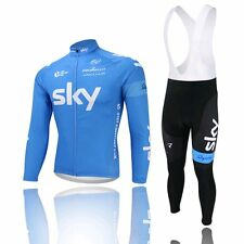 NEW Thermal Fleece Long Sleeve Wind Cycling Jersey Jacket Bib Pants Tights BLUE