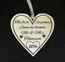 Personalised Christmas Tree Decoration Baubles 1st Christmas Mr & Mrs Heart Gift