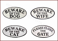 Beware Of The Dog / Beware Of The Cat / Beware Of The Wife Cast Iron Signs