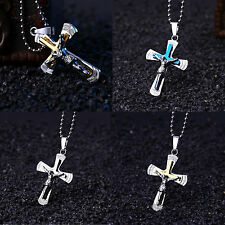 New Unisex Stainless Steel Cross Pendant Charm Necklace With Chain Jewelry Gift