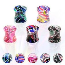 UV Flesh Saddle Plug Tunnel Piercing 0 1/8-0 5/8in 5 Colours from ALLFORYOU