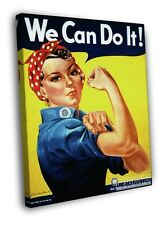 Rosie The Riveter Retro Classic Vintage FRAMED CANVAS WALL PRINT