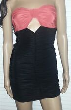 JUNIORS BLACK & ORANGE STRAPLESS STRETCHED BODYCON CLUBWEAR MINI DRESS
