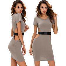 Women Gray Faux Leather Strap Cut Out Dress Stage Dance Brief Cute Club Sexy