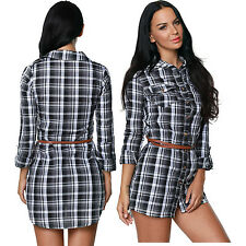 Women Black White Plaid Belted Blouse Dress Long Sleeve Stage Dance Brief Sexy