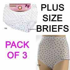 PLUS SIZE Ladies 100 % Cotton Maxi Briefs Floral Womens Big Knickers Pack Of 3