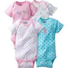 "Gerber Baby Girls ""Sweet Cutie"" 4-Pack Onesies"