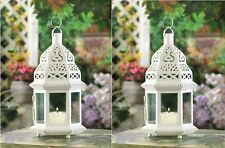 "2 WHITE MOROCCAN STYLE CANDLE LANTERNS - 12 1/4"" HIGH - IRON & GLASS - WHITE"