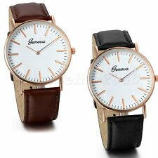 Fashion Womens Mens Watches Large Dial Leather Band Analog Quartz Wrist Watch