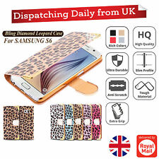 Luxury Magnetic Leopard Flip Cover Stand Card Wallet Leather Case For Samsung S6