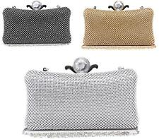 Ladies Bridal Metallic Jewel Crystal Hardcase Evening Party Small Clutch Bag