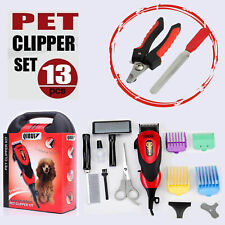 Pro Electric Dog Pet Clipper Kit Hair Grooming Trimmer and(Nail Clipper+File) AU