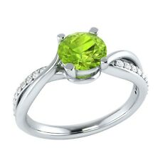 0.70 ct Natural Green Peridot & Certified Diamond Solid Gold Engagement Ring