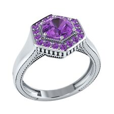 0.75 ct Natural Round Purple Amethyst Solid Gold wedding Engagement Ring