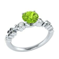 0.69 ct Natural Green Peridot & Certified Diamond Solid Gold Engagement Ring