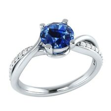 0.70 ct Natural Blue Sapphire & Certified Diamond Solid Gold Engagement Ring