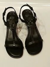 Tory burch miller wedge black leather 60mm sandal nib