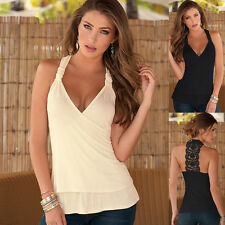 Women Summer Sexy Lace Vest Sleeveless T-Shirt Halter V-neck Blouse Tank Tops US