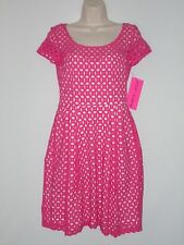 NWT $159 - BETSEY JOHNSON Eyelet Dress with Illusion Sweetheart Neckline, Pink