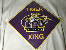 """NEW Louisiana State University LSU Tigers 12"""" Xing Crossing Metal Signs Man Cave"""