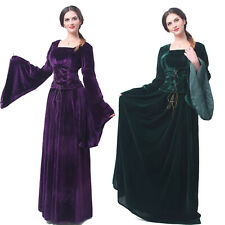 Women Velvet Medieval Renaissance Green Dress Celtic Queen Gown Cospaly Costume