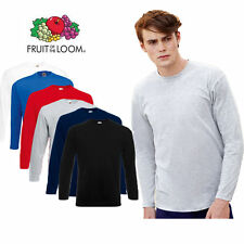 3 PACK MENS LONG SLEEVE FRUIT OF THE LOOM COTTON T SHIRTS