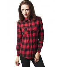 Shirt URBAN CLASSICS Ladies' Black Red Checked pattern Cotton