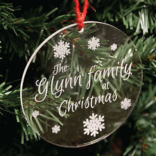 Personalised Family Snowflake Christmas Tree Decoration | Engraved Bauble Gift