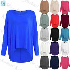 Ladies Womens Jumper Oversize Layering Lagenlook Off Shoulder High Low Baggy Top