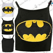 New Ladies Camisole Strappy Batman Print Womens Tank Vest Cropped Top Plus Size
