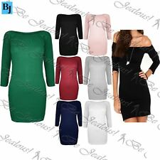 Womens Plain Long Sleeve Off Shoulder Ladies Jersey Bodycon Tunic Mini Dress Top