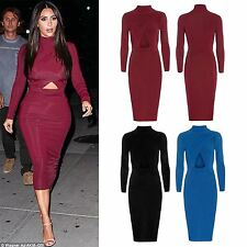 Ladies Womens Wrap Over Long Sleeves Front Polo Neck Cut Out Midi Bodycon Dress